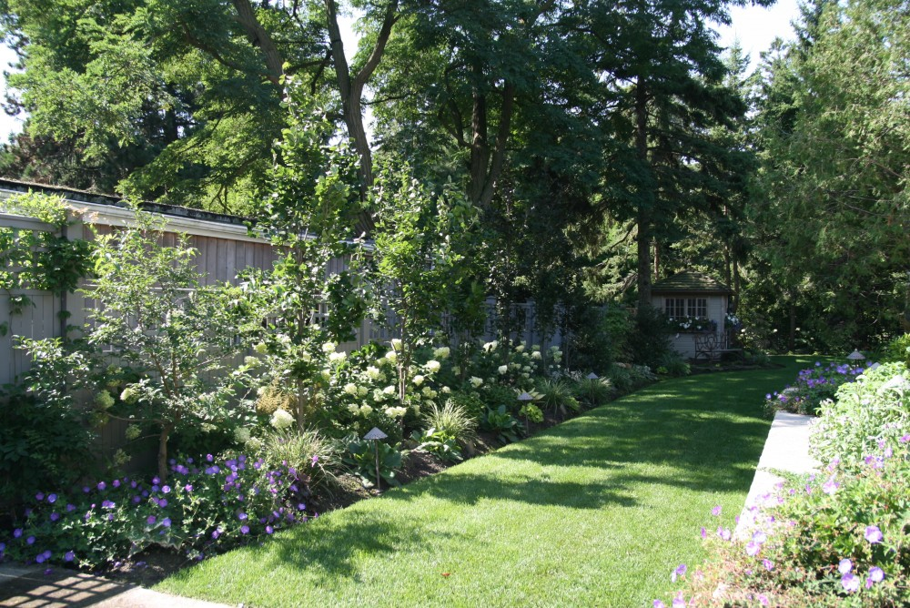 flower beds and trees