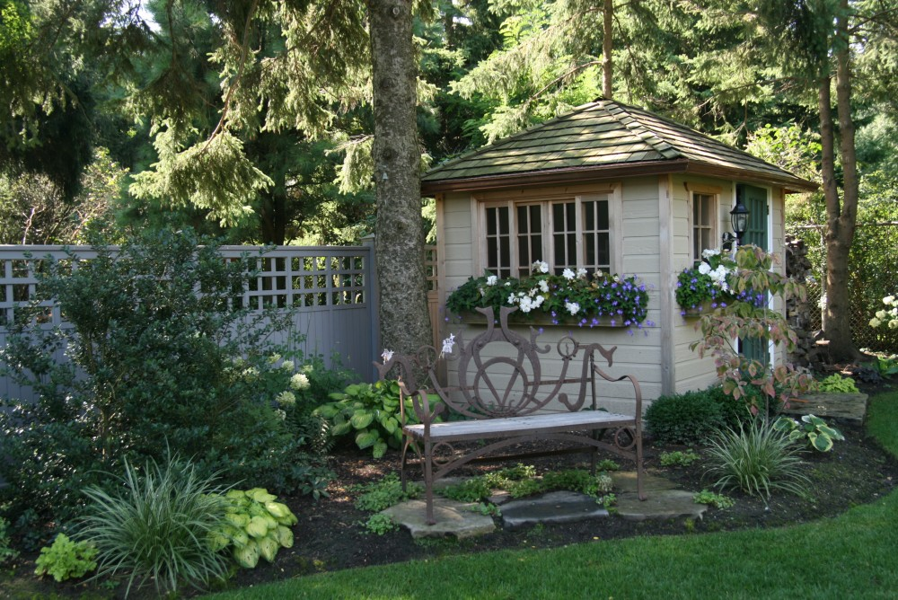 bench, shade garden, Summerwood shed